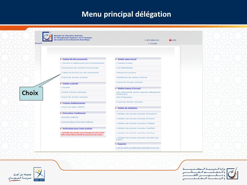 Menu principal délégation Choix
