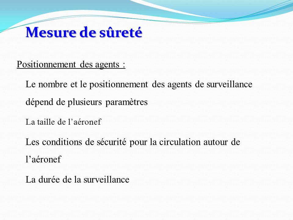 Positionnement des agents : Le nombre et le positionnement des agents de surveillance dépend de plusieurs paramètres La taille de laéronef Les conditions de sécurité pour la circulation autour de laéronef La durée de la surveillance Mesure de sûreté