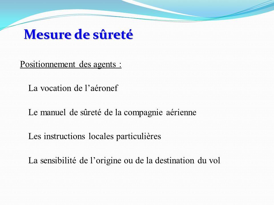 Positionnement des agents : La vocation de laéronef Le manuel de sûreté de la compagnie aérienne Les instructions locales particulières La sensibilité