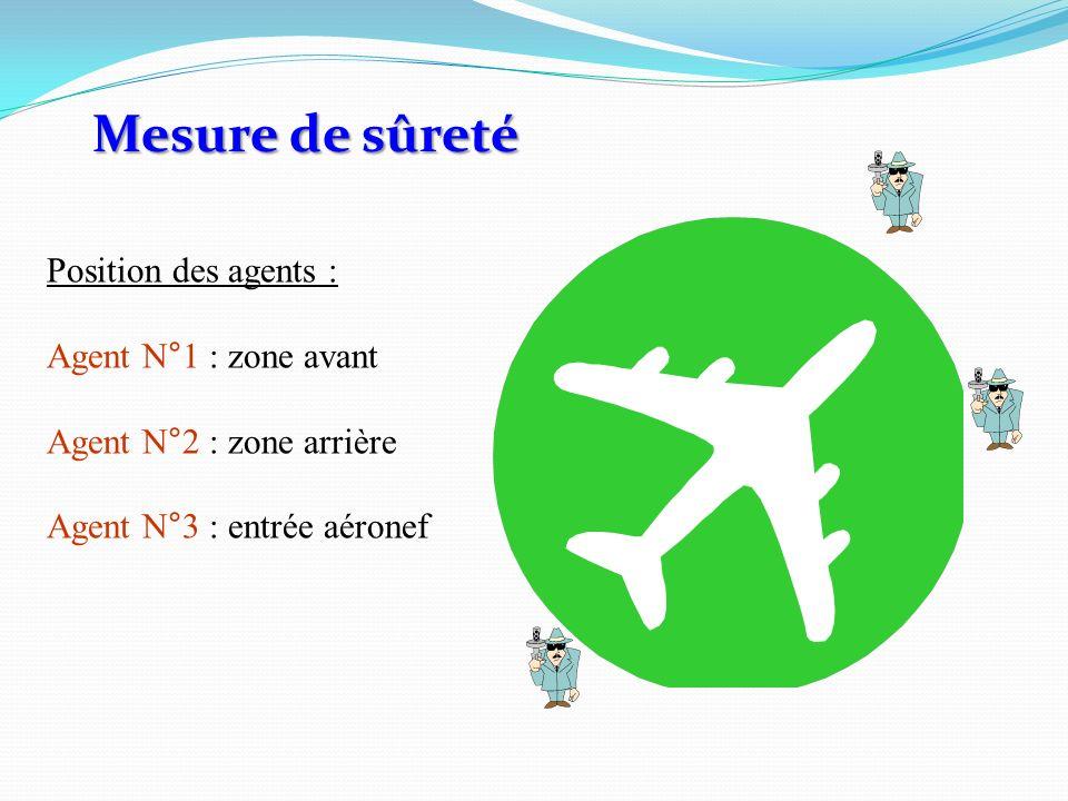 Position des agents : Agent N°1 : zone avant Agent N°2 : zone arrière Agent N°3 : entrée aéronef Mesure de sûreté