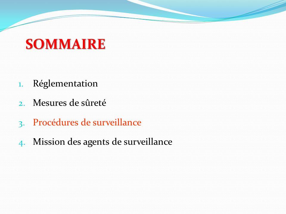 SOMMAIRE 1. Réglementation 2. Mesures de sûreté 3. Procédures de surveillance 4. Mission des agents de surveillance