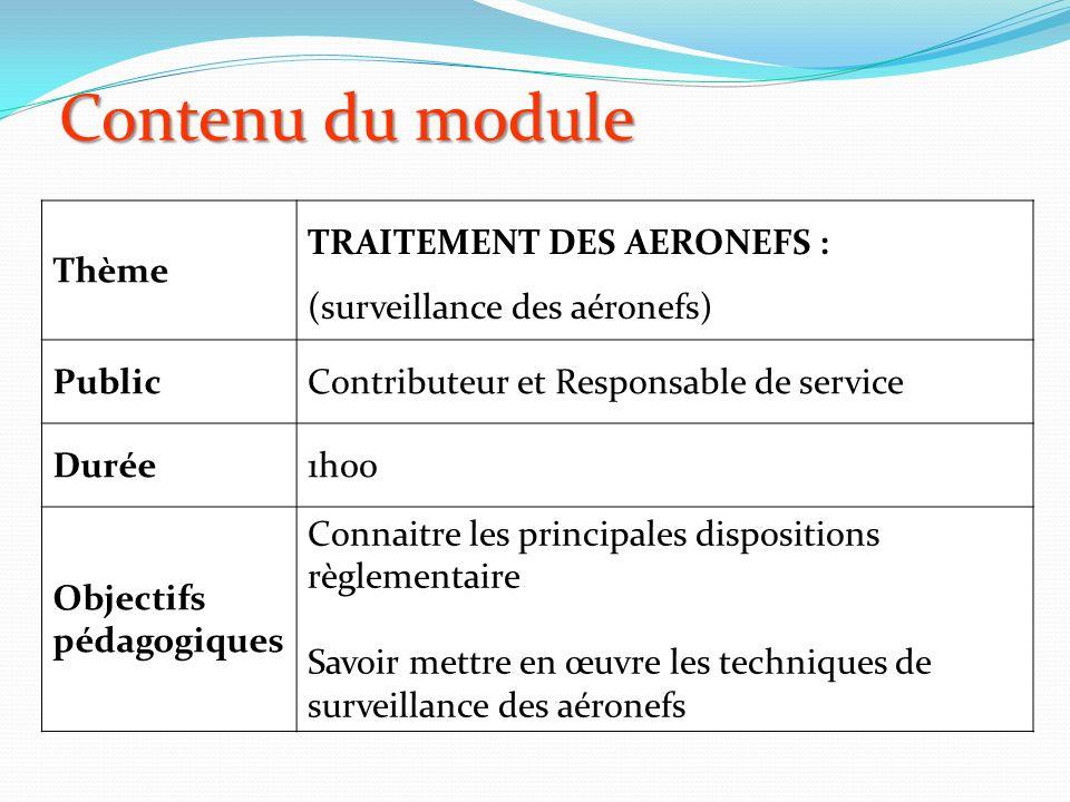 Contenu du module Thème TRAITEMENT DES AERONEFS : (surveillance des aéronefs) PublicContributeur et Responsable de service Durée1h00 Objectifs pédagogiques Connaitre les principales dispositions règlementaire Savoir mettre en œuvre les techniques de surveillance des aéronefs