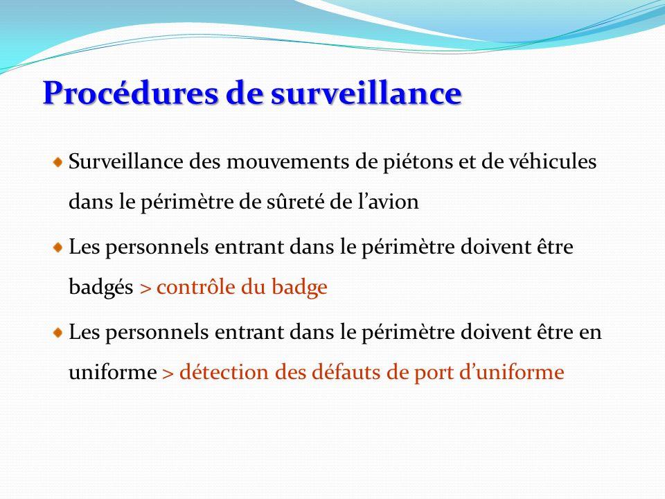 Procédures de surveillance Surveillance des mouvements de piétons et de véhicules dans le périmètre de sûreté de lavion Les personnels entrant dans le