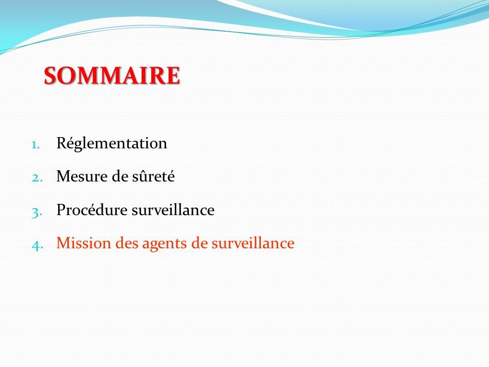 SOMMAIRE 1. Réglementation 2. Mesure de sûreté 3. Procédure surveillance 4. Mission des agents de surveillance