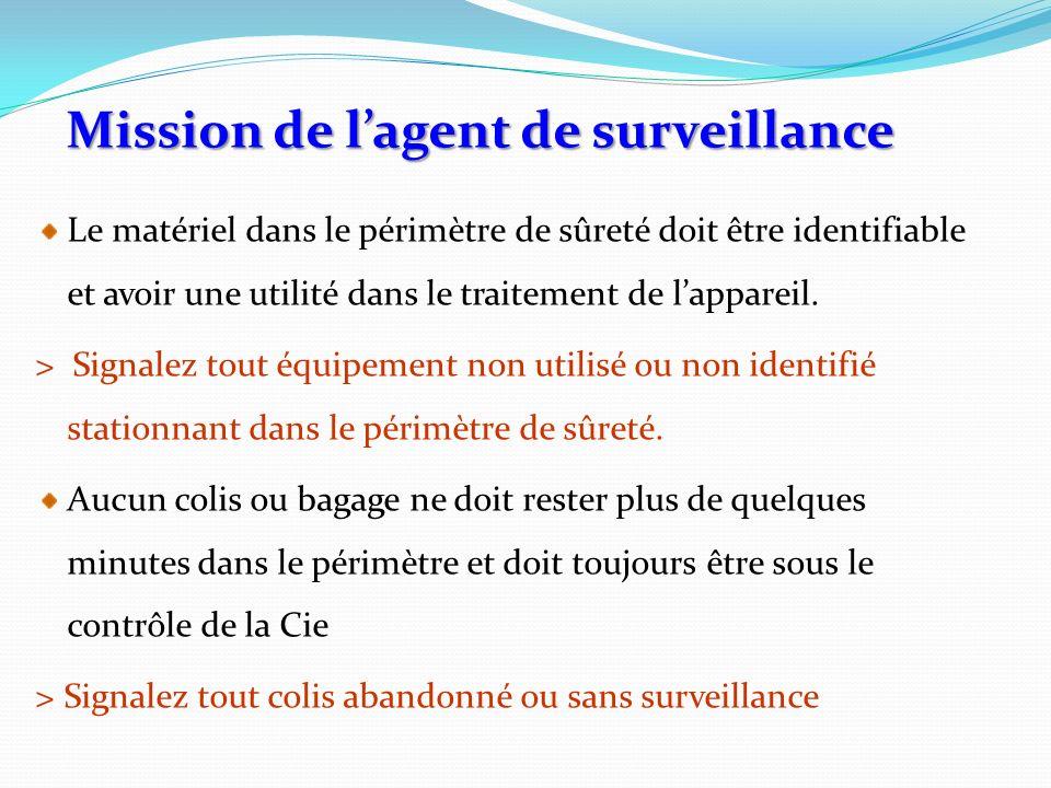 Le matériel dans le périmètre de sûreté doit être identifiable et avoir une utilité dans le traitement de lappareil. > Signalez tout équipement non ut