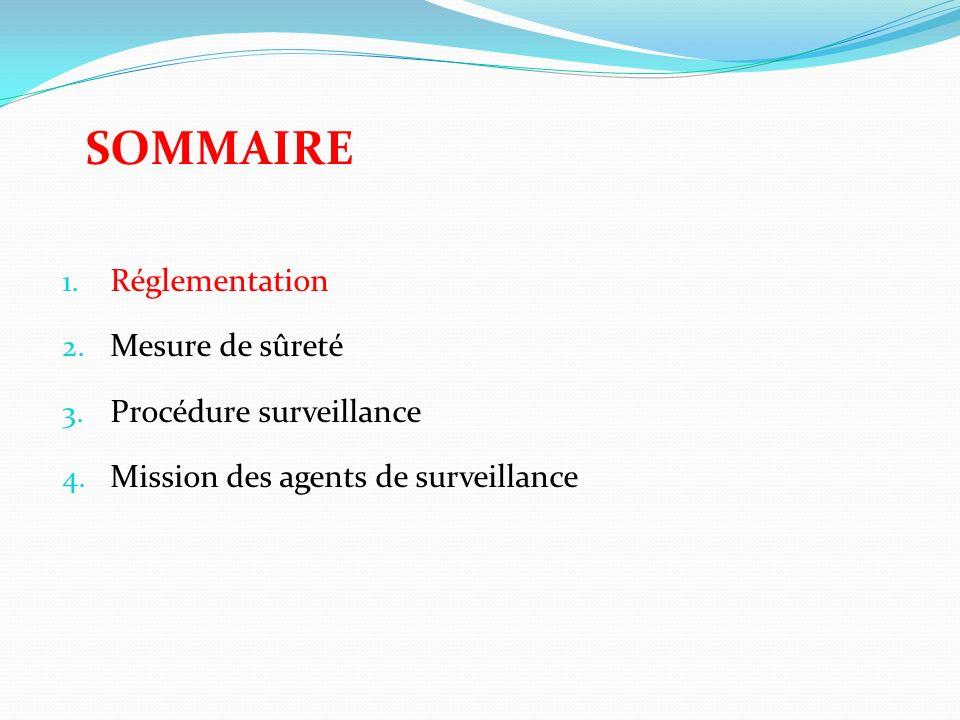 SOMMAIRE 1.Réglementation 2. Mesure de sûreté 3. Procédure surveillance 4.