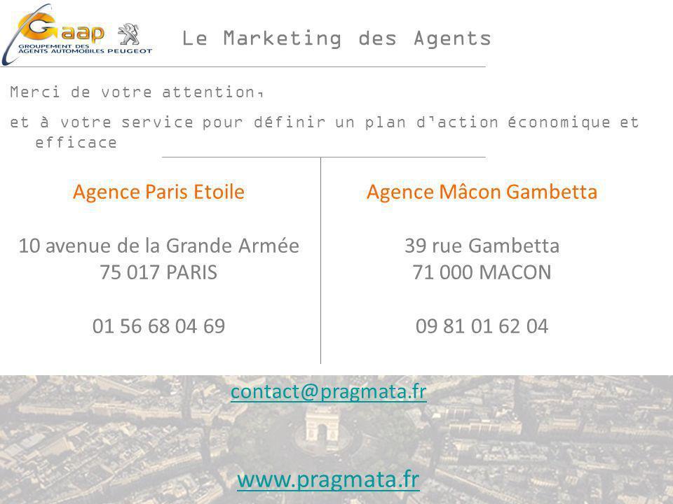 Le Marketing des Agents Merci de votre attention, et à votre service pour définir un plan daction économique et efficace Agence Paris Etoile 10 avenue