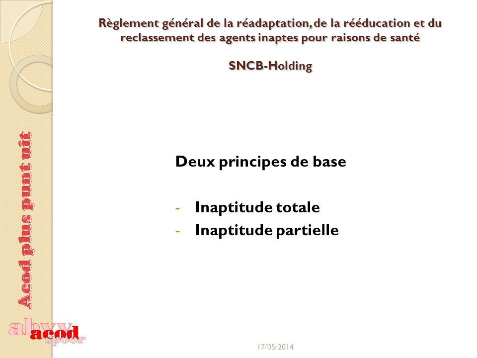 Règlement général de la réadaptation, de la rééducation et du reclassement des agents inaptes pour raisons de santé SNCB-Holding Deux principes de base -Inaptitude totale -Inaptitude partielle 17/05/2014