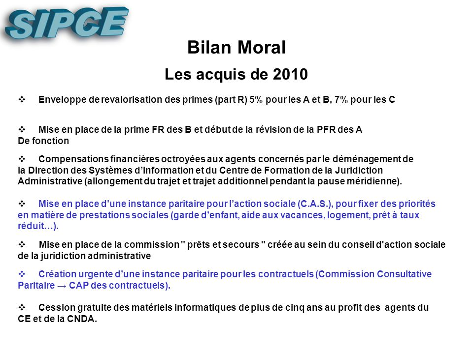 I - Présentation du bilan moral et financier de lexercice 2010. ORDRE DU JOUR II - Réflexions sur : - les primes - lavenir des agents 1) REF1) REFLEXI
