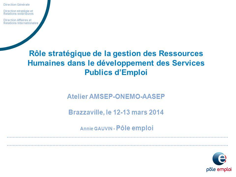 Rôle stratégique de la gestion des Ressources Humaines dans le développement des Services Publics dEmploi Atelier AMSEP-ONEMO-AASEP Brazzaville, le 12