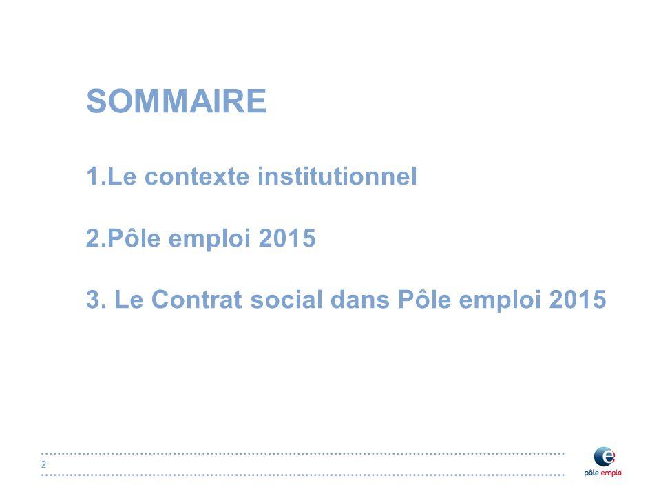 2 SOMMAIRE 1.Le contexte institutionnel 2.Pôle emploi 2015 3. Le Contrat social dans Pôle emploi 2015