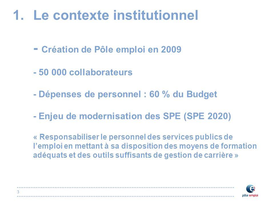 3 1.Le contexte institutionnel - Création de Pôle emploi en 2009 - 50 000 collaborateurs - Dépenses de personnel : 60 % du Budget - Enjeu de modernisa