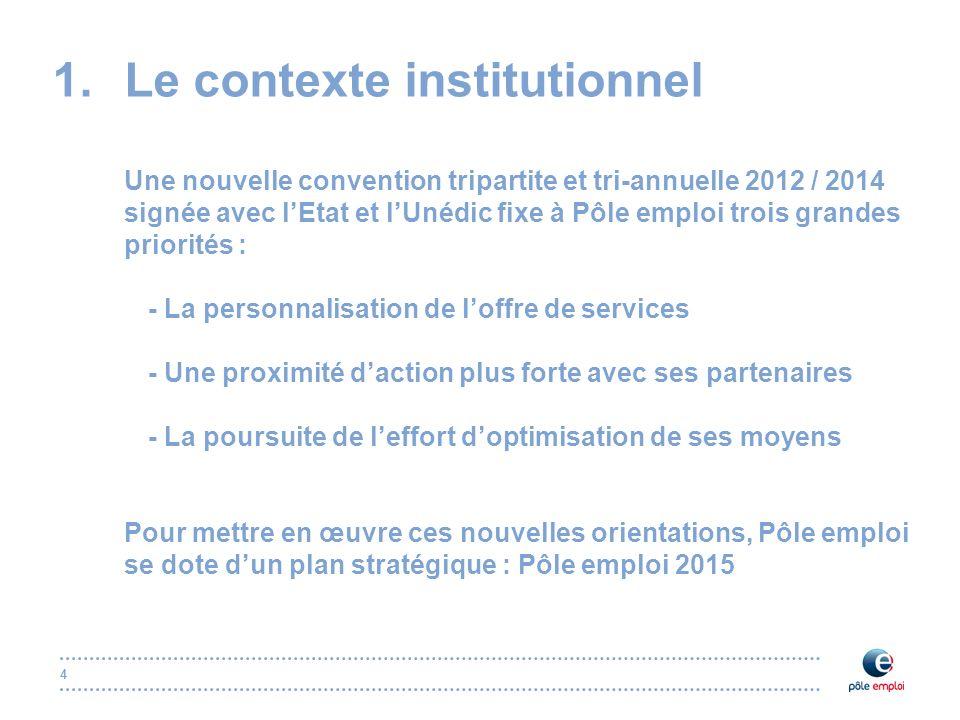 4 1.Le contexte institutionnel Une nouvelle convention tripartite et tri-annuelle 2012 / 2014 signée avec lEtat et lUnédic fixe à Pôle emploi trois gr