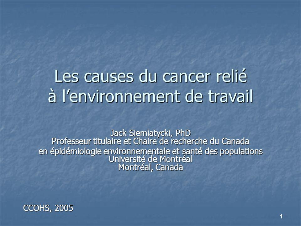 1 Les causes du cancer relié à lenvironnement de travail Jack Siemiatycki, PhD Professeur titulaire et Chaire de recherche du Canada en épidémiologie