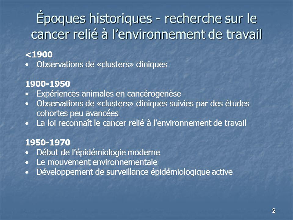 2 Époques historiques - recherche sur le cancer relié à lenvironnement de travail <1900 Observations de «clusters» cliniques 1900-1950 Expériences ani