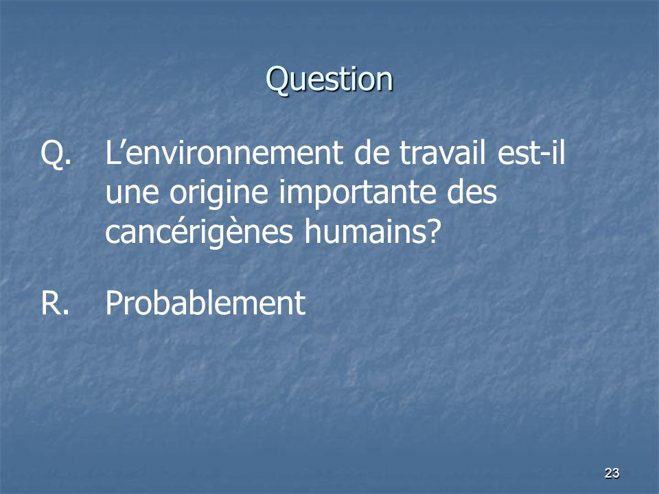 23 Question Q.Lenvironnement de travail est-il une origine importante des cancérigènes humains? R.Probablement