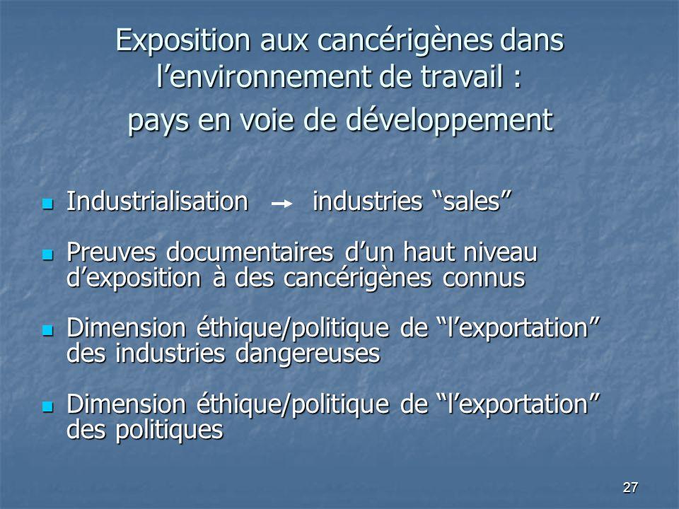 27 Exposition aux cancérigènes dans lenvironnement de travail : pays en voie de développement Industrialisationindustries sales Industrialisationindus