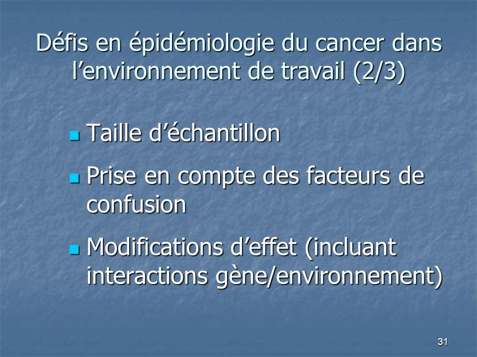 31 Taille déchantillon Taille déchantillon Prise en compte des facteurs de confusion Prise en compte des facteurs de confusion Modifications deffet (i