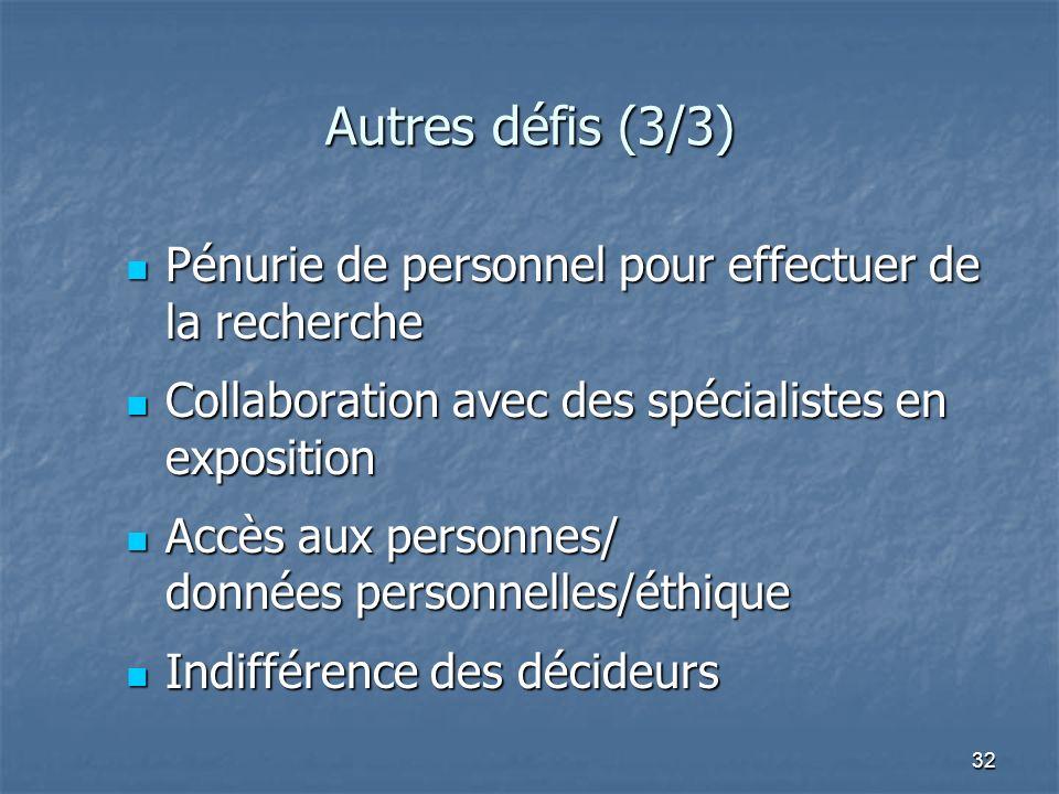 32 Autres défis (3/3) Pénurie de personnel pour effectuer de la recherche Pénurie de personnel pour effectuer de la recherche Collaboration avec des s