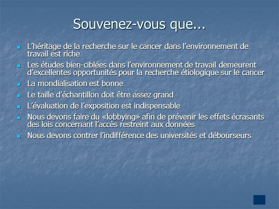 33 Souvenez-vous que... Lhéritage de la recherche sur le cancer dans lenvironnement de travail est riche Lhéritage de la recherche sur le cancer dans