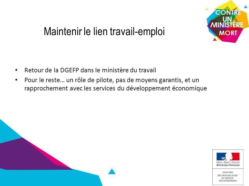 Maintenir le lien travail-emploi Retour de la DGEFP dans le ministère du travail Pour le reste… un rôle de pilote, pas de moyens garantis, et un rapprochement avec les services du développement économique