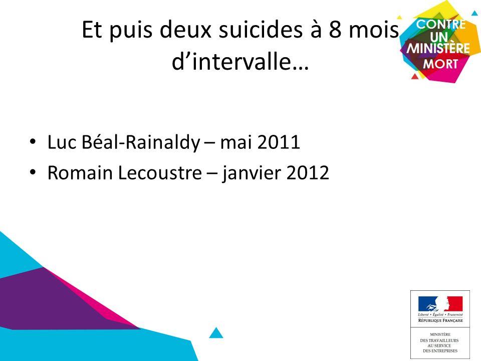 Et puis deux suicides à 8 mois dintervalle… Luc Béal-Rainaldy – mai 2011 Romain Lecoustre – janvier 2012