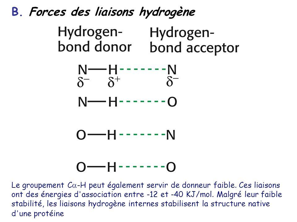 B. Forces des liaisons hydrogène Le groupement C -H peut également servir de donneur faible. Ces liaisons ont des énergies d'association entre -12 et