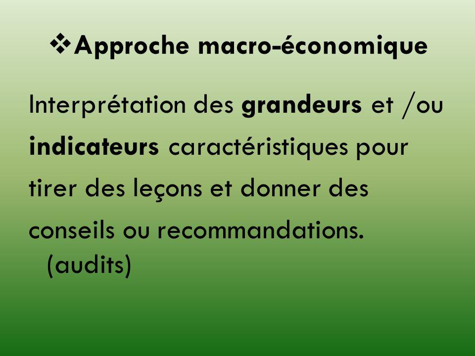 Approche macro-économique Interprétation des grandeurs et /ou indicateurs caractéristiques pour tirer des leçons et donner des conseils ou recommandat
