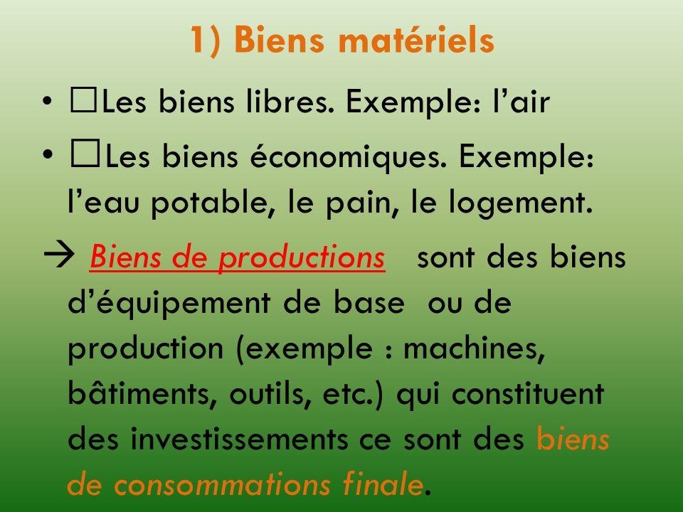 1) Biens matériels Les biens libres. Exemple: lair Les biens économiques. Exemple: leau potable, le pain, le logement. Biens de productions sont des b
