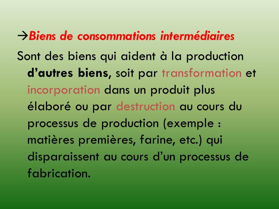Biens de consommations intermédiaires Sont des biens qui aident à la production dautres biens, soit par transformation et incorporation dans un produi