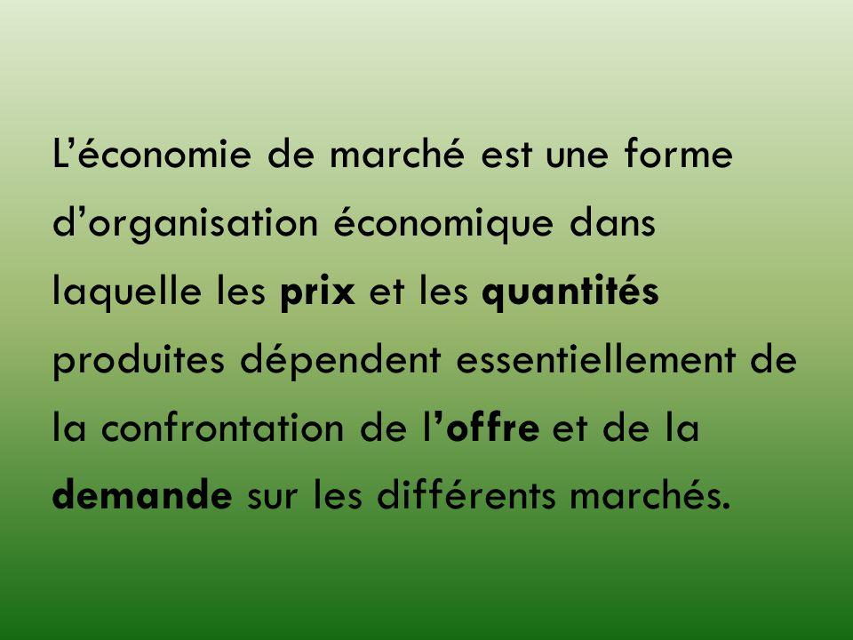 Léconomie de marché est une forme dorganisation économique dans laquelle les prix et les quantités produites dépendent essentiellement de la confronta