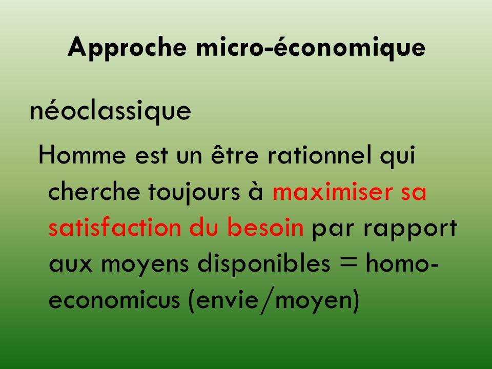 Approche micro-économique néoclassique Homme est un être rationnel qui cherche toujours à maximiser sa satisfaction du besoin par rapport aux moyens d