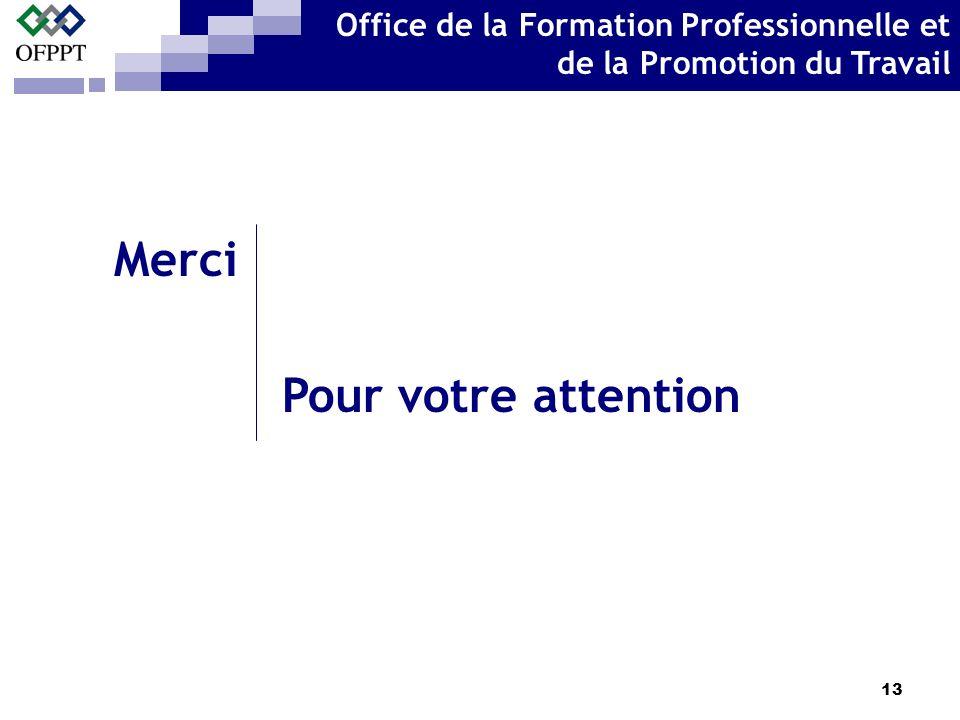 13 Merci Pour votre attention Office de la Formation Professionnelle et de la Promotion du Travail