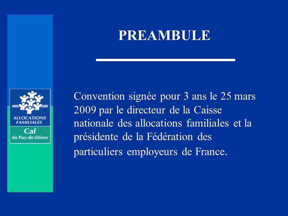 PREAMBULE Convention signée pour 3 ans le 25 mars 2009 par le directeur de la Caisse nationale des allocations familiales et la présidente de la Fédér