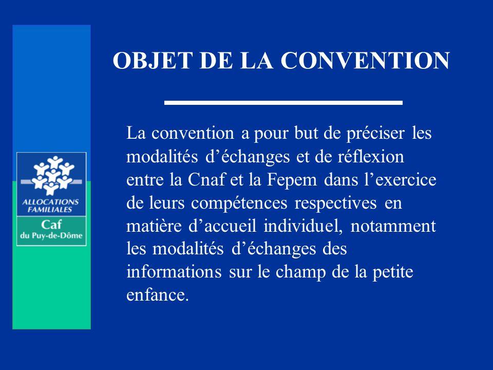 OBJET DE LA CONVENTION La convention a pour but de préciser les modalités déchanges et de réflexion entre la Cnaf et la Fepem dans lexercice de leurs