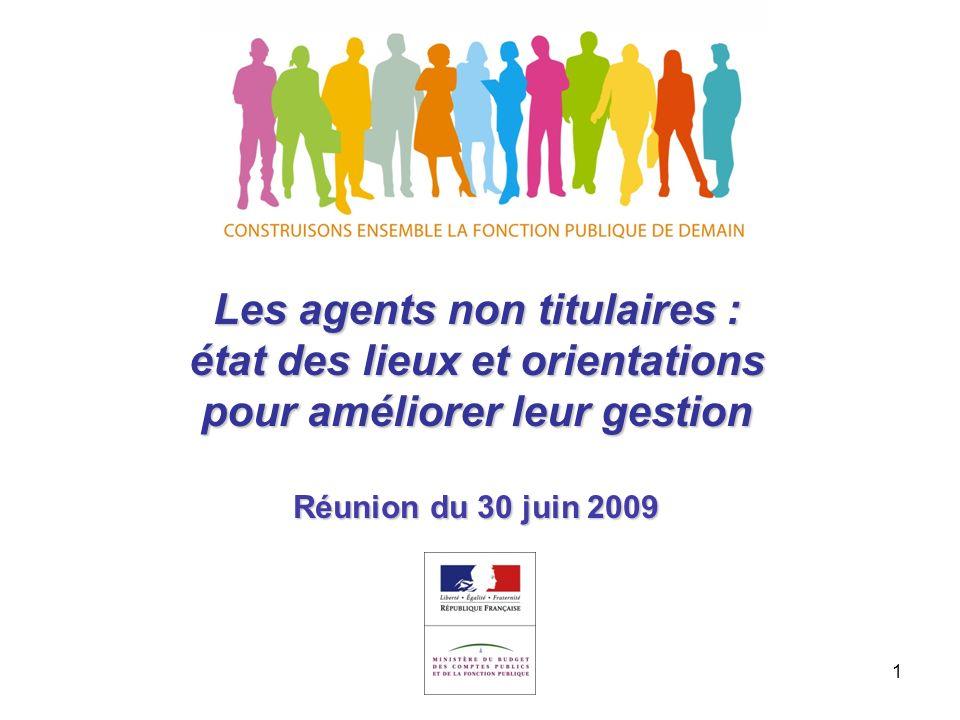 1 Les agents non titulaires : état des lieux et orientations pour améliorer leur gestion Réunion du 30 juin 2009