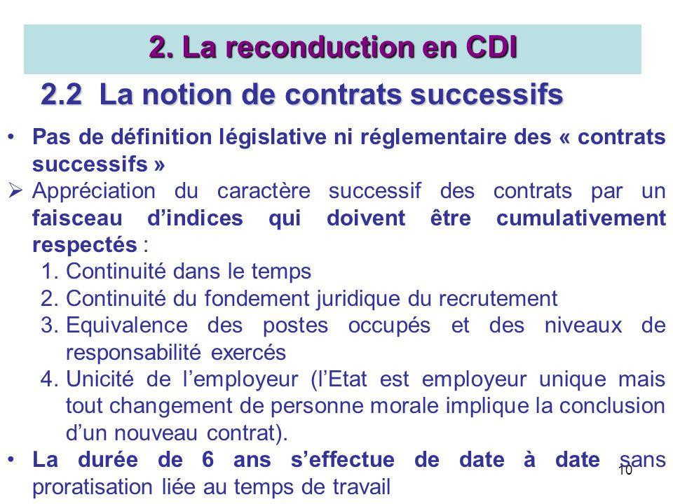 10 2. La reconduction en CDI 2.2 La notion de contrats successifs Pas de définition législative ni réglementaire des « contrats successifs » Appréciat
