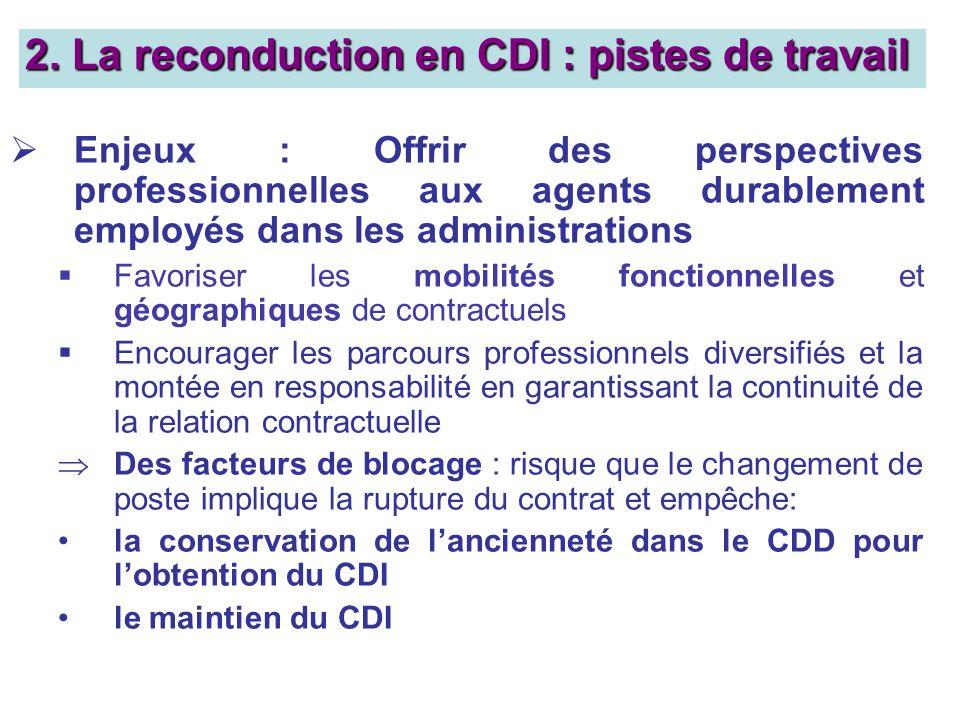2. La reconduction en CDI : pistes de travail Enjeux : Offrir des perspectives professionnelles aux agents durablement employés dans les administratio