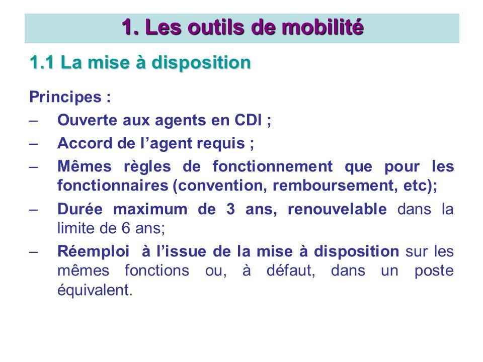 1. Les outils de mobilité 1.1 La mise à disposition Principes : –Ouverte aux agents en CDI ; –Accord de lagent requis ; –Mêmes règles de fonctionnemen