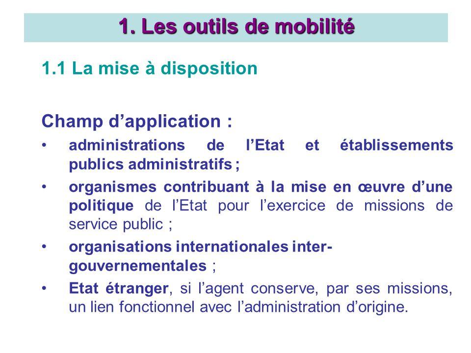 1.1 La mise à disposition Champ dapplication : administrations de lEtat et établissements publics administratifs ; organismes contribuant à la mise en