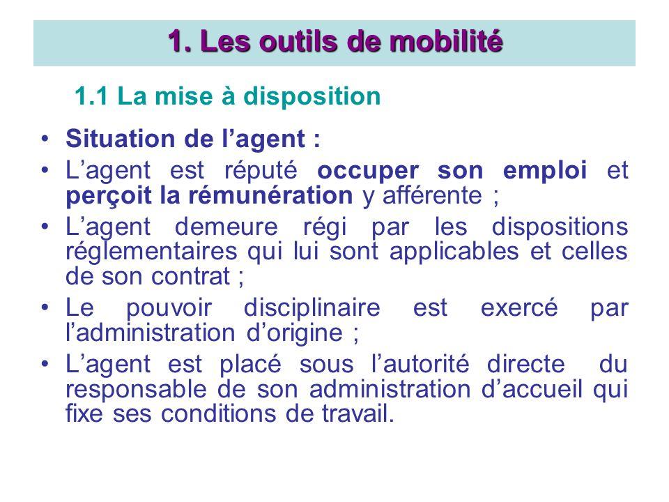 1.1 La mise à disposition Situation de lagent : Lagent est réputé occuper son emploi et perçoit la rémunération y afférente ; Lagent demeure régi par