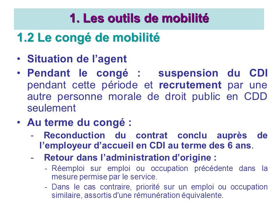 1.2 Le congé de mobilité Situation de lagent Pendant le congé : suspension du CDI pendant cette période et recrutement par une autre personne morale d