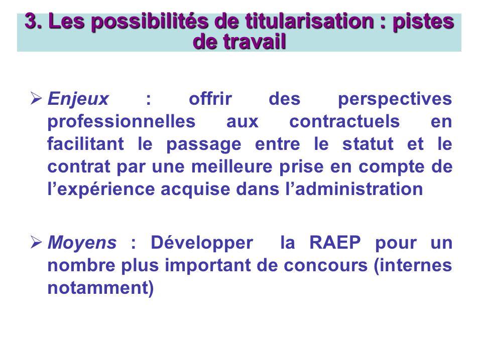 Enjeux : offrir des perspectives professionnelles aux contractuels en facilitant le passage entre le statut et le contrat par une meilleure prise en c