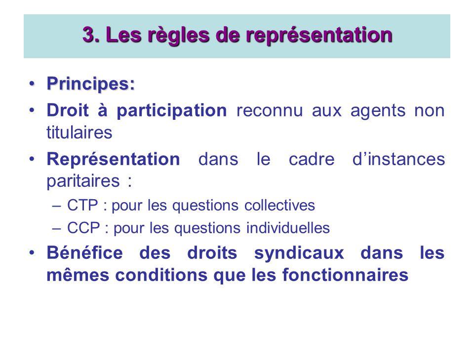 Principes:Principes: Droit à participation reconnu aux agents non titulaires Représentation dans le cadre dinstances paritaires : –CTP : pour les ques
