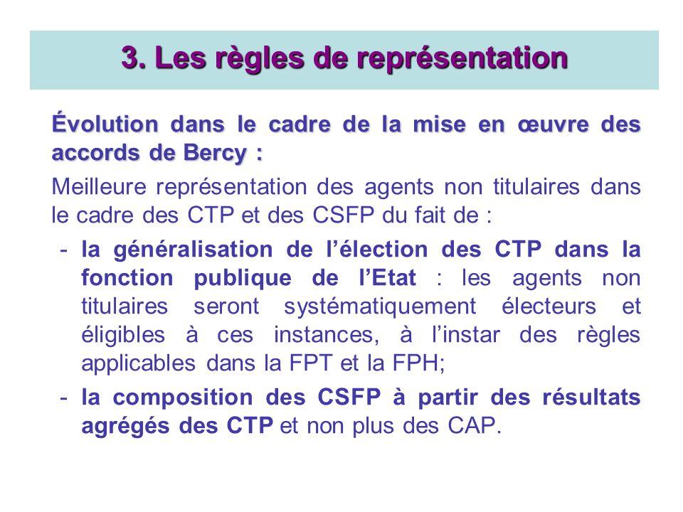 Évolution dans le cadre de la mise en œuvre des accords de Bercy : Meilleure représentation des agents non titulaires dans le cadre des CTP et des CSFP du fait de : -la généralisation de lélection des CTP dans la fonction publique de lEtat : les agents non titulaires seront systématiquement électeurs et éligibles à ces instances, à linstar des règles applicables dans la FPT et la FPH; -la composition des CSFP à partir des résultats agrégés des CTP et non plus des CAP.