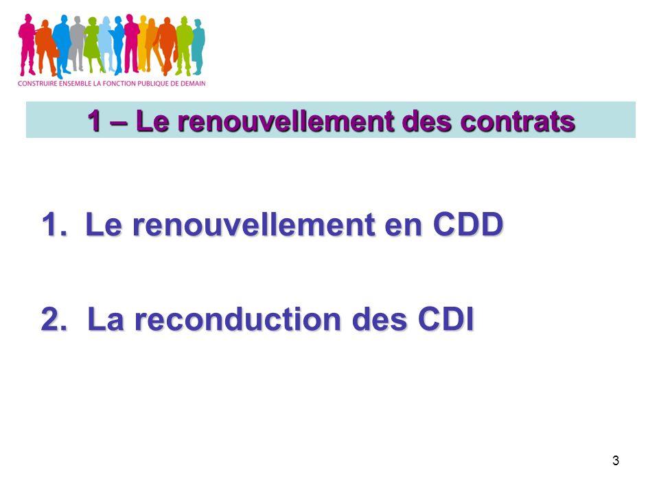 3 1.Le renouvellement en CDD 2. La reconduction des CDI 1 – Le renouvellement des contrats