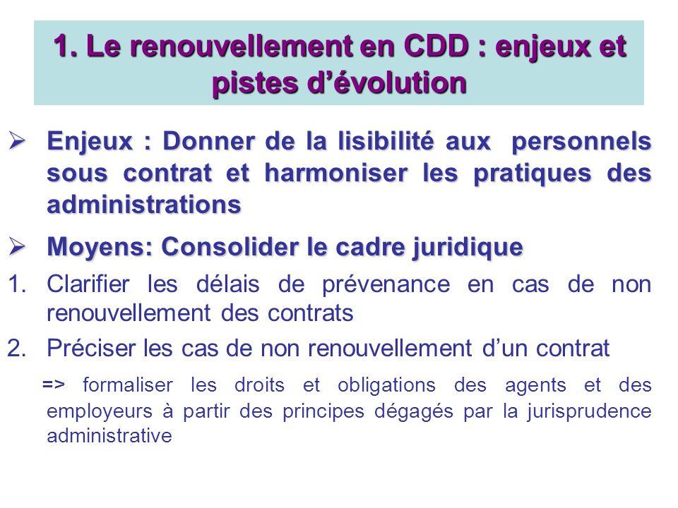 1. Le renouvellement en CDD : enjeux et pistes dévolution Enjeux : Donner de la lisibilité aux personnels sous contrat et harmoniser les pratiques des