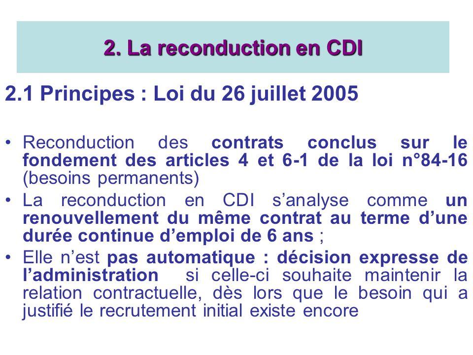 2.1 Principes : Loi du 26 juillet 2005 Reconduction des contrats conclus sur le fondement des articles 4 et 6-1 de la loi n°84-16 (besoins permanents) La reconduction en CDI sanalyse comme un renouvellement du même contrat au terme dune durée continue demploi de 6 ans ; Elle nest pas automatique : décision expresse de ladministration si celle-ci souhaite maintenir la relation contractuelle, dès lors que le besoin qui a justifié le recrutement initial existe encore 2.