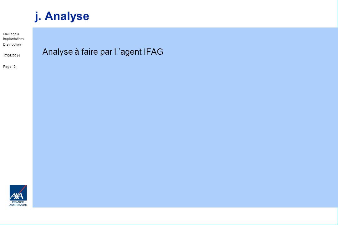 Maillage & Implantations Distribution 17/05/2014 Page 12 j. Analyse Analyse à faire par l agent IFAG