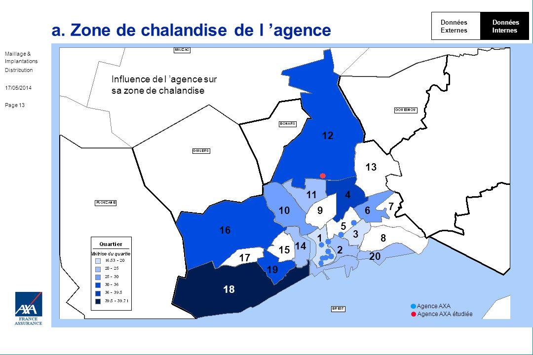 Maillage & Implantations Distribution 17/05/2014 Page 13 a. Zone de chalandise de l agence Données Externes Données Internes Influence de l agence sur